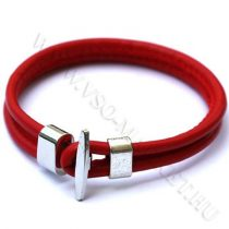 Karkötő, Unisex divatos, elegáns vastag bőr karkötő Piros
