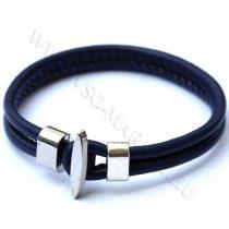 Karkötő, Unisex divatos, elegáns vastag bőr karkötő Sötét kék