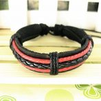 Férfi divatos, elegáns fonott bőr karkötő Fekete Piros