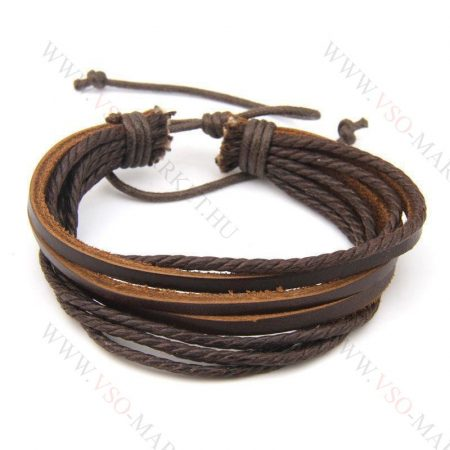 Férfi divatos, elegáns sűrű fonott bőr karkötő Barna