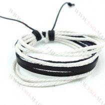 Férfi divatos, elegáns sűrű fonott bőr karkötő Fekete és fehér
