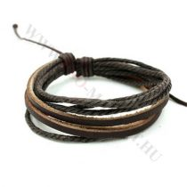Férfi divatos, elegáns sűrű fonott bőr karkötő kávé barna
