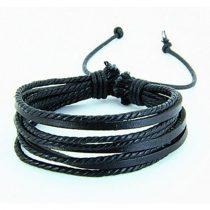 Férfi divatos, elegáns sűrű fonott bőr karkötő Fekete