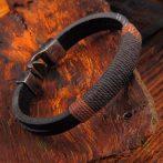 Férfi divatos, elegáns vastag barna és fekete, fém karkötő