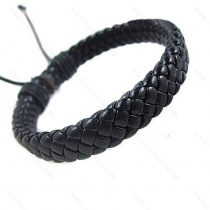 Férfi divatos, elegáns fonott bőr karkötő Fekete