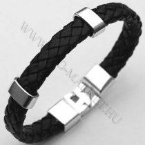Férfi divatos, elegáns fonott bőr karkötő Fekete, fém csatos karkötő