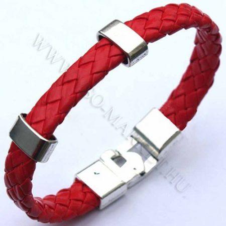 Férfi divatos, elegáns fonott bőr karkötő Piros, fém csatos karkötő