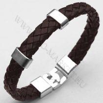Férfi divatos, elegáns fonott bőr karkötő sötét Barna, fém csatos karkötő
