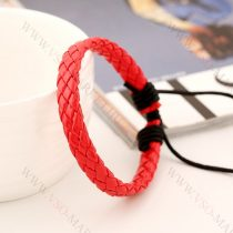 Férfi divatos, elegáns fonott bőr karkötő Piros