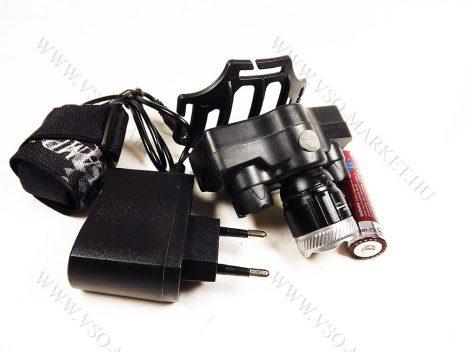 Horgász 4 LED zoom fejlámpa, akkumulátoros, kiegészítő COB LED csík, Q5 LED