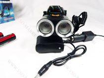 T6 CREE, DUPLA LED-es, dupla akkumulátoros, fejlámpa, lámpa