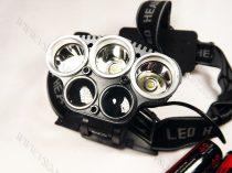 T6 CREE, 3db T6 LED-es, és 2db Q5 LED-es dupla akkumulátoros, fejlámpa, lámpa