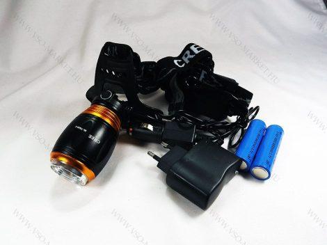Akkumulátoros, dupla CREE LED Fejlámpa, KÉK éjszakai módal + kemping világítás