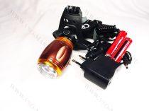 Akkumulátoros, dupla CREE LED Fejlámpa, PIROS éjszakai módal + kemping világítás