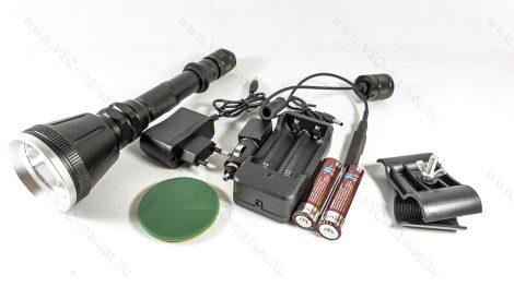 T6 LED nagy fegyverlámpa szet, mikorkapcsolós, extra nagy front lencse