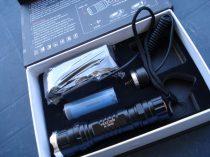 LED fegyverlámpa, LED keresőlámpa szett, profi klikk zoom, akkumulátoros tölthető