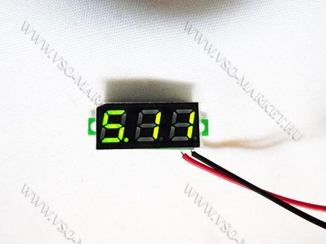 Digitális feszültségmérő, voltmérő DC 4,5-30V Zöld