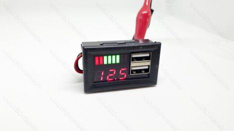 Digitális beépíthető feszültségmérő, sávos voltmérő, USB töltő DC 6-30V