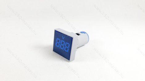 Digitális beépíthető feszültségmérő, voltmérő négyzet, AC 20-500V Kék