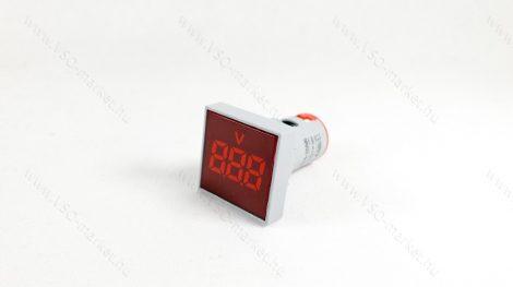 Digitális beépíthető feszültségmérő, voltmérő négyzet, AC 20-500V Piros