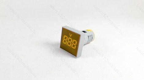 Digitális beépíthető feszültségmérő, voltmérő négyzet, AC 20-500V Sárga