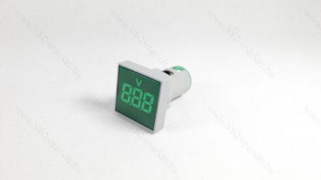 Digitális beépíthető feszültségmérő, voltmérő négyzet, AC 20-500V Zöld