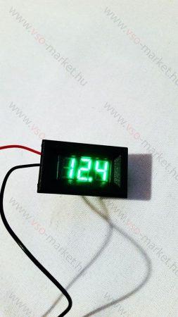 Digitális beépíthető feszültségmérő, voltmérő DC 2,5-30V ZÖLD