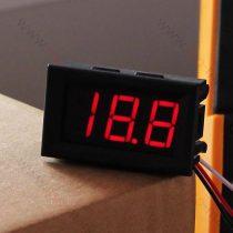 Digitális beépíthető feszültségmérő, voltmérő DC 0-100V PIROS