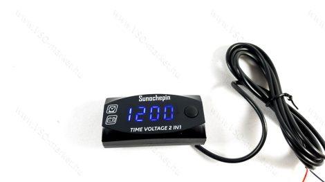 Digitális feszültségmérő, autós óra, voltmérő panel DC 6-30V Kék LED
