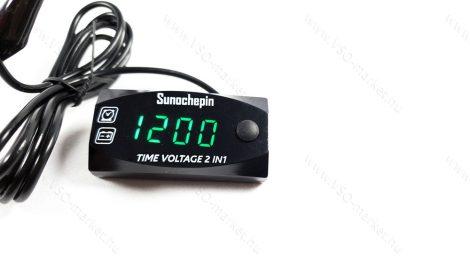 Digitális feszültségmérő, autós óra, voltmérő panel DC 6-30V Zöld LED