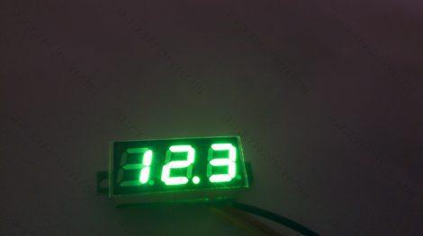 Digitális feszültségmérő, voltmérő DC 0-30V Zöld
