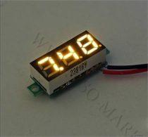 Digitális feszültségmérő, voltmérő DC 3.5-30V Sárga