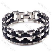Férfi divatos, elegáns vastag gumis és fém láncos Fekete karkötő