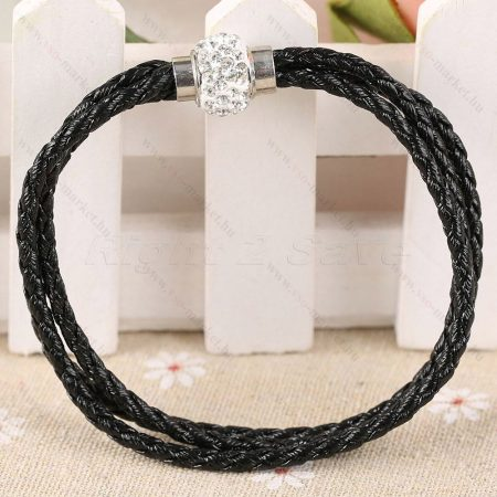 Női fonott fekete karkötő, elegáns kő berakással