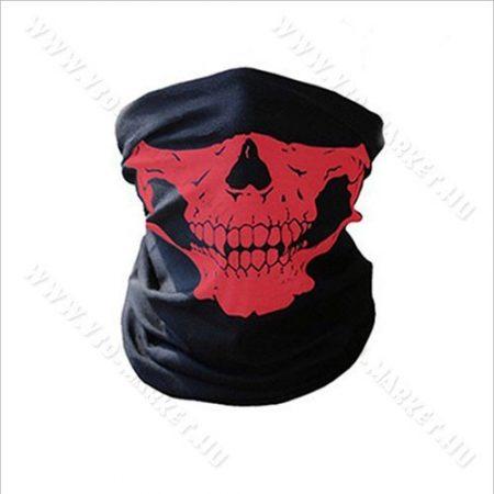 Koponya mintázatú kendő, motoros maszk, csontváz, skull, Piros