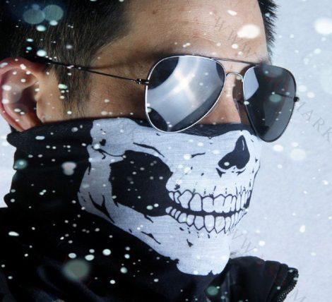 Koponya mintázatú kendő, motoros maszk, csontváz, skull