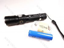 LED lámpa, zseblámpa, akkumulátoros tölthető elemlámpa, kék és piros LED, T6 Cree zoom