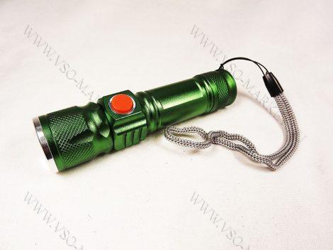 USB T6 CREE zoom-os akkumulátoros LED lámpa, elemlámpa, Zöld zseblámpa