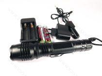 Nagyméretű LED lámpa, zseblámpa, masszív akkumulátoros tölthető elemlámpa, 4xQ5 cree LED zoom