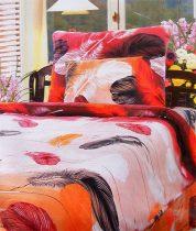 6 részes Flanel ágyneműhuzat garnitúra, flanel ágynemű, narancs piros madártoll