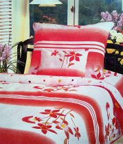 6 részes Flanel ágyneműhuzat garnitúra, flanel ágynemű, piros virágos