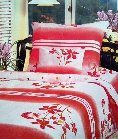 7 részes Flanel ágyneműhuzat garnitúra, piros virágos