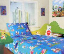 Babaágynemű garnitúra, ovis ágynemű, bébi ágyneműhuzat, kék nyuszis