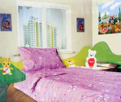 Babaágynemű garnitúra, ovis ágynemű, bébi ágyneműhuzat, rózsaszín egeres