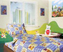 Babaágynemű garnitúra, ovis ágynemű, bébi ágyneműhuzat, kék kockás macis