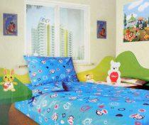 Babaágynemű garnitúra, ovis ágynemű, bébi ágyneműhuzat, kék majmos