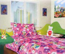 Babaágynemű garnitúra, ovis ágynemű, bébi ágyneműhuzat, rózsaszín macis, virágos