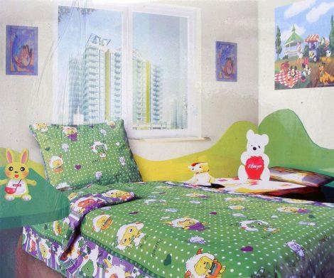 Babaágynemű garnitúra, ovis ágynemű, bébi ágyneműhuzat, zöld ufós