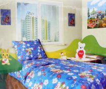 Babaágynemű garnitúra, ovis ágynemű, bébi ágyneműhuzat, kék macis, virágos