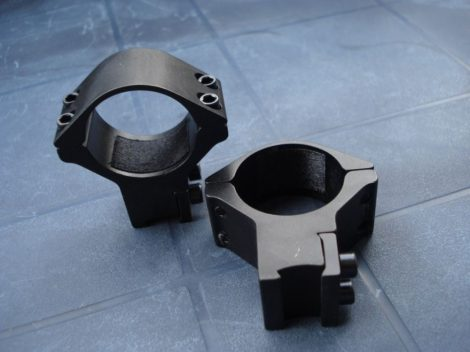 Céltávcső, távcső szerelék, kétrészes 30/11mm magasított, dupla csavaros